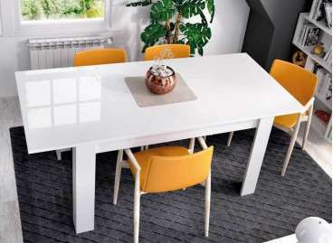 Mesa de comedor extensible de 140 a 190 cm - Blanco brillo