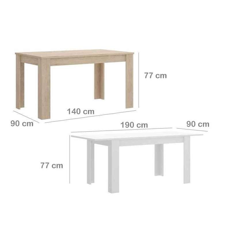 Taula de menjador extensible de 140 a 190 cm