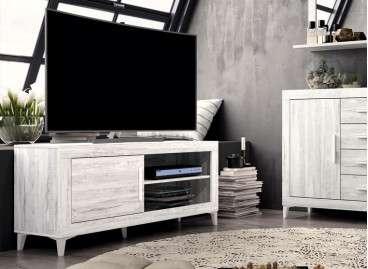 Mueble de TV de 130 cm con patas - Ártico