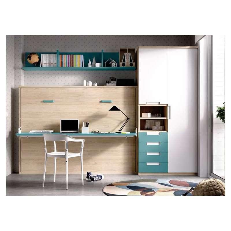 Cama individual abatible con escritorio integrado
