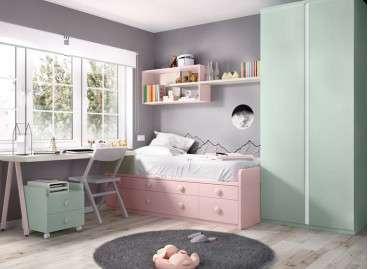 Habitació juvenil amb llit niu i calaixos