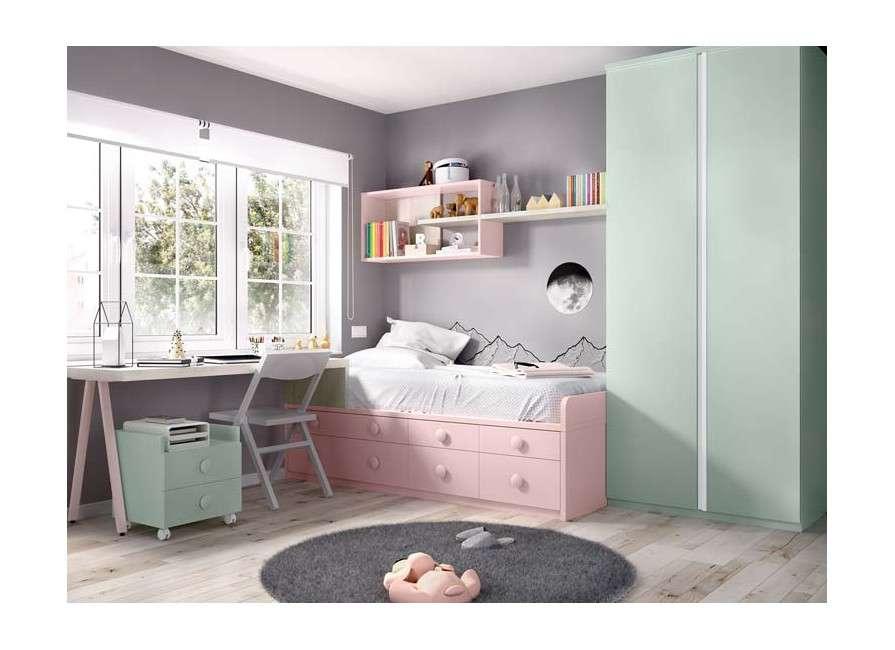 Habitación juvenil con cama nido y cajones