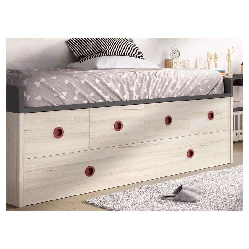 Dormitorio juvenil con cama compacta