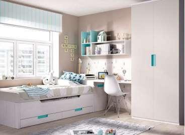 Habitació juvenil amb llit desplaçable