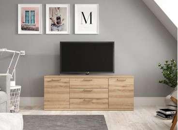 Moble baix per TV amb dues portes i tres calaixos