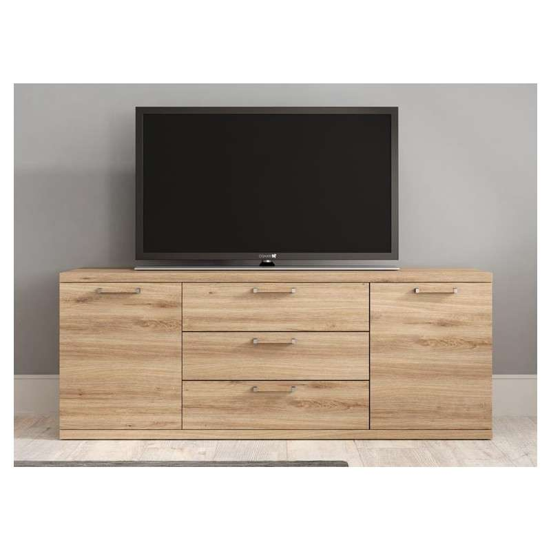 Mueble bajo para TV con dos puertas y tres cajones