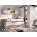 Habitación juvenil con cama compacta y desplazable