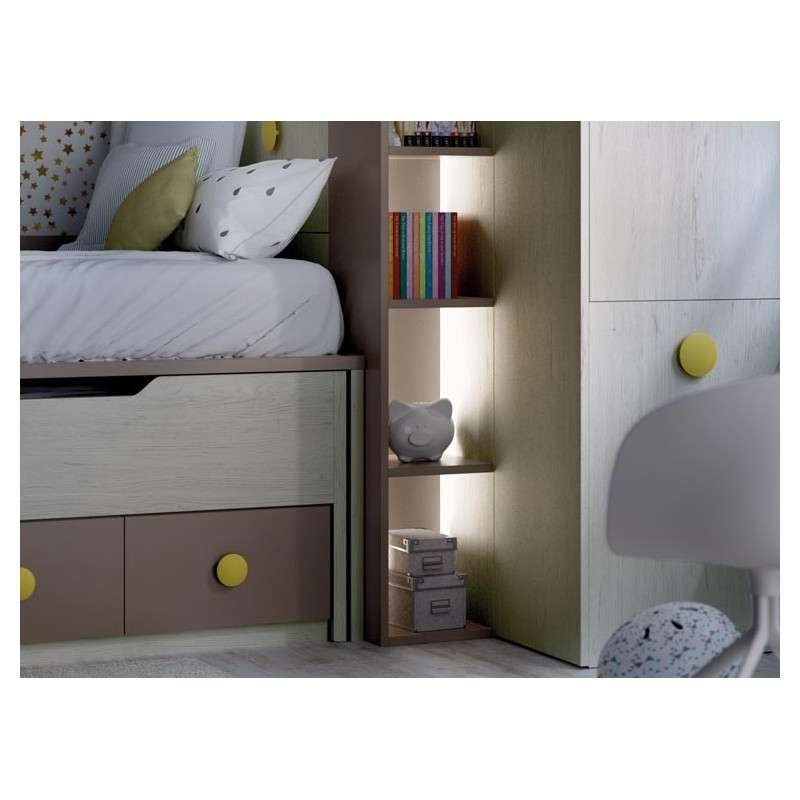 Habitació juvenil con cama compacta y desplazable