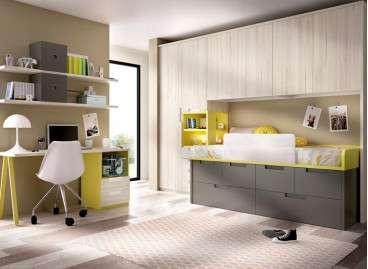 Habitació juvenil amb llit compacte i armari pont