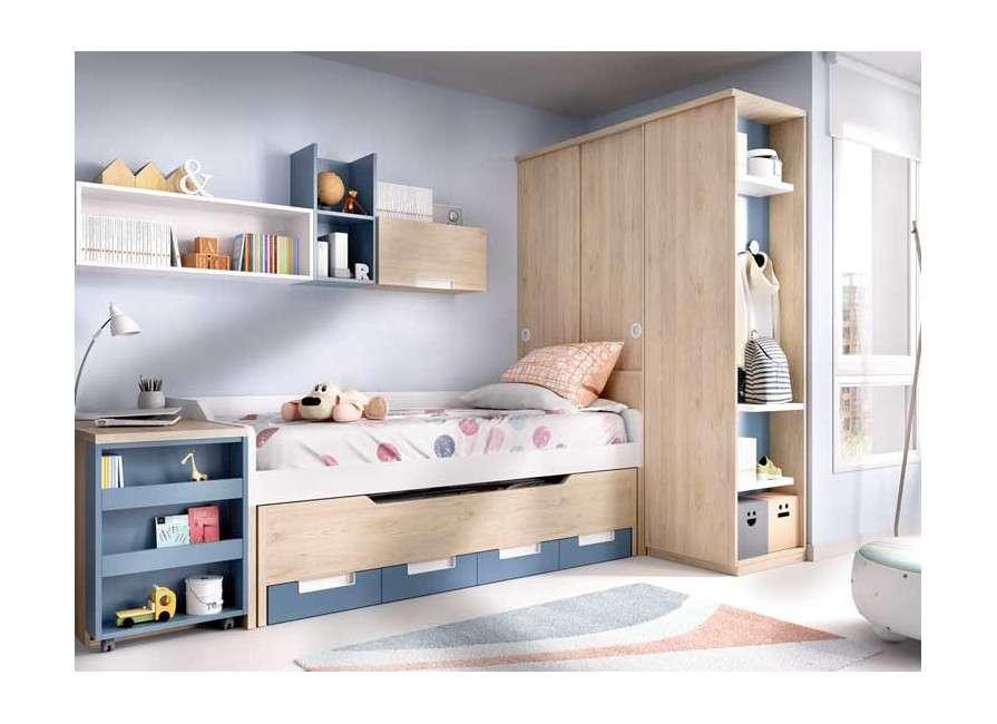 Habitació juvenil amb llit compacte i escriptori desplaçable
