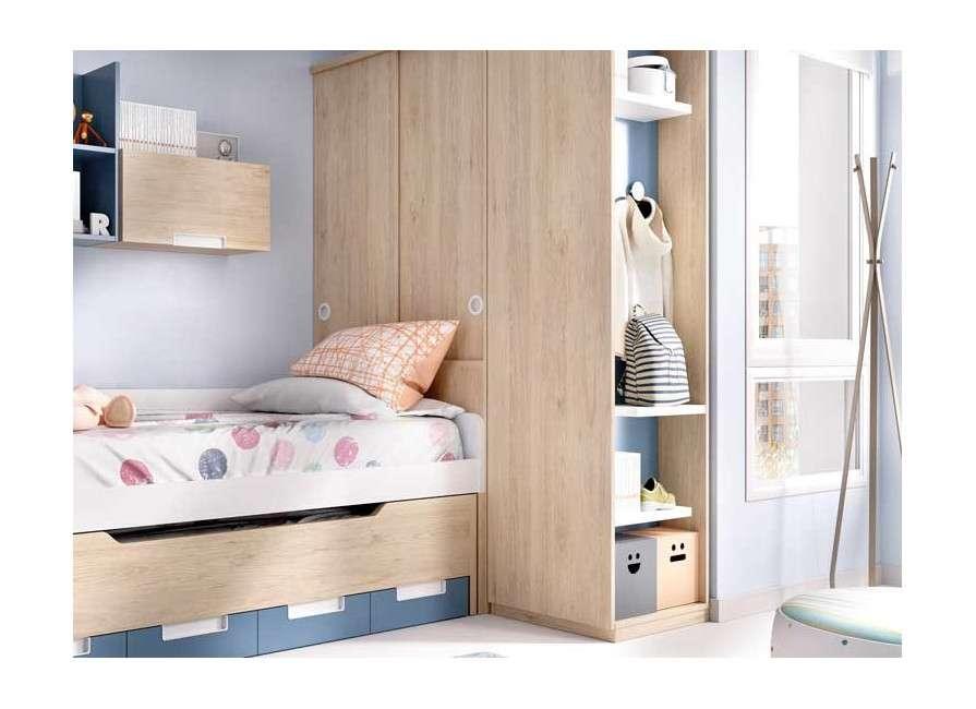 Habitación juvenil con cama compacta y escritorio desplazable