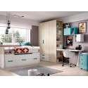 Habitación juvenil con cama compacta y cama desplazable