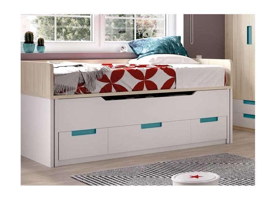 Habitació juvenil amb llit compacte i llit desplaçable