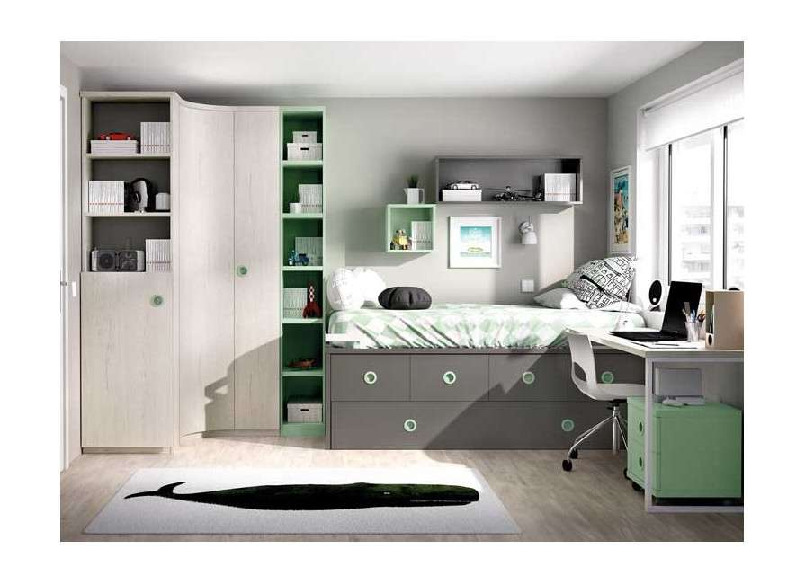 Habitació juvenil amb armari raconer