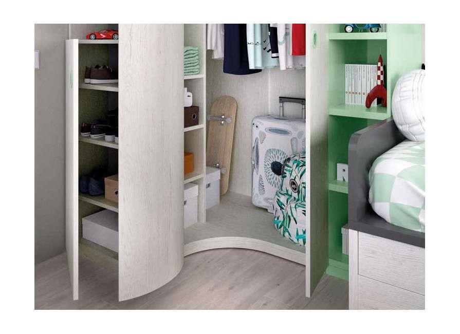Habitación juvenil con armario rinconero