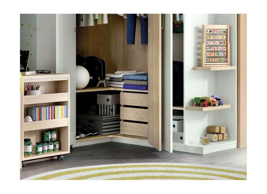 Composición juvenil con armario rinconero y arcón con estantería