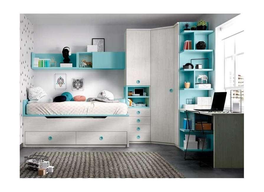 Habitació juvenil amb armari raconer i escriptori