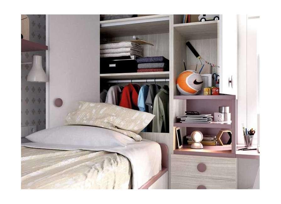 Habitación juvenil con cama compacta y armario terminal