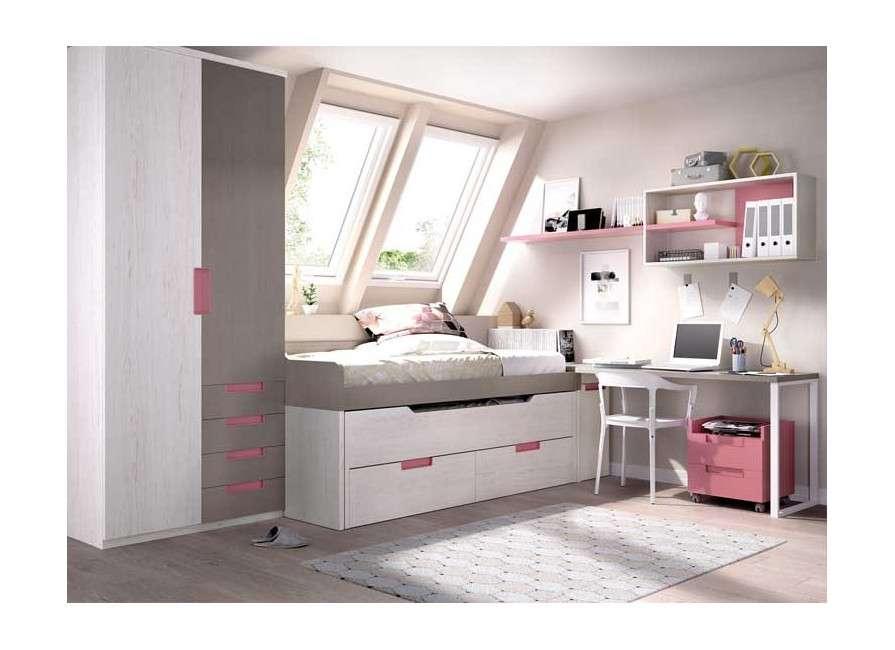 Conjunto juvenil con cama compacta con desplazable