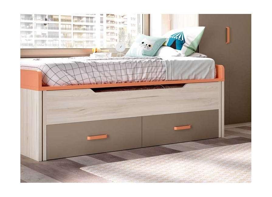 Conjunto juvenil con cama compacta y rinconero