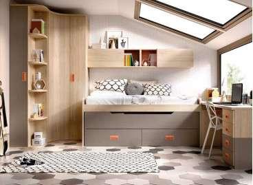 Habitación juvenil con cama compacta y rinconero