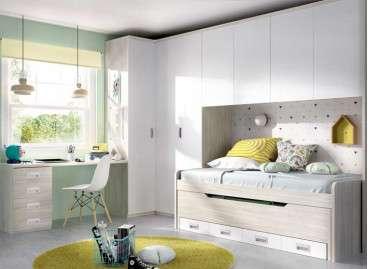 Composición juvenil con cama compacta y armario puente