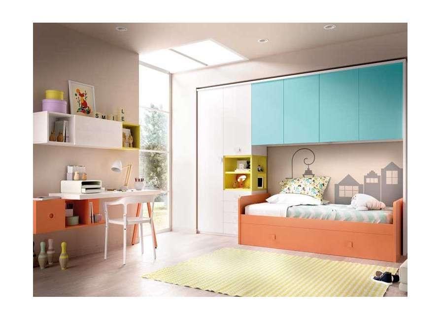 Composición juvenil con cama nido y armario puente