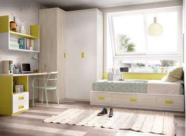 Habitació juvenil amb llit niu i raconer