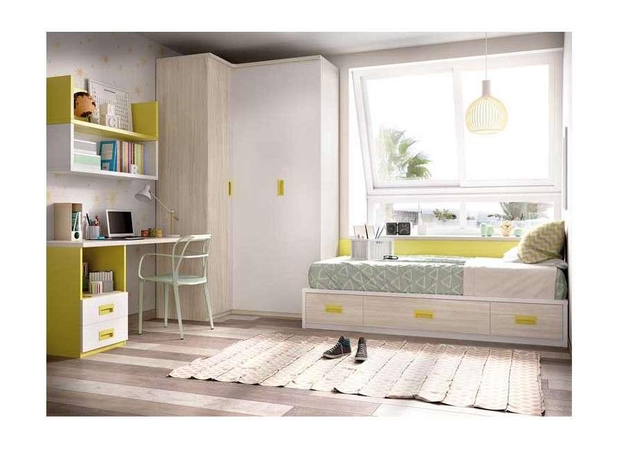 Habitación juvenil con cama nido y rinconero