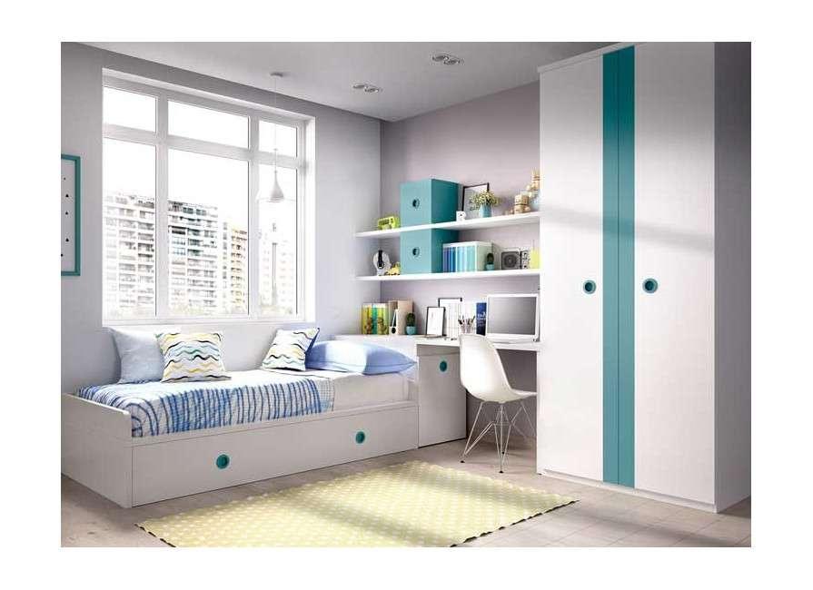 Muebles para habitación juvenil con cama nido y arcón zapatero