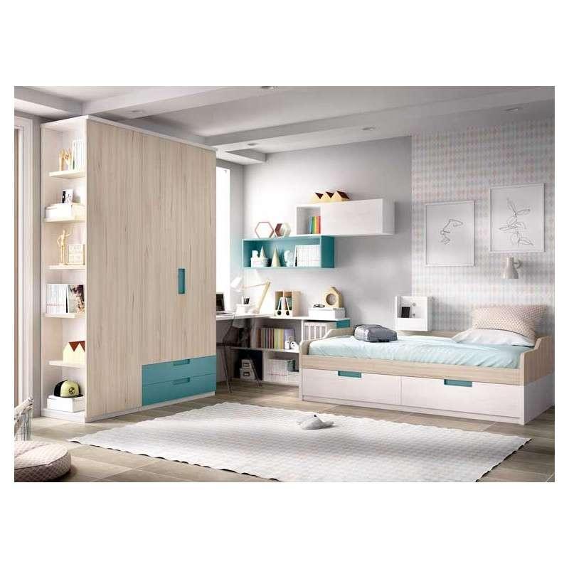 Habitació juvenil amb llit niu i armari de 3 portes