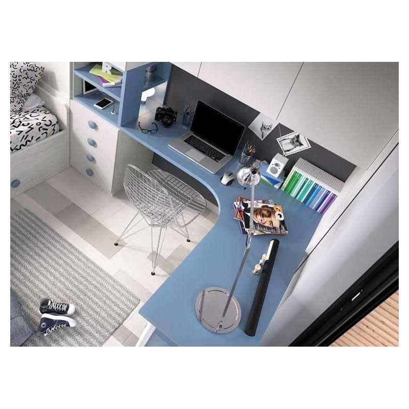 Habitación juvenil completa con mucho espacio de almacenaje