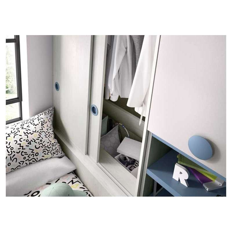 Habitació juvenil completa amb molt espai d'emmagatzematge