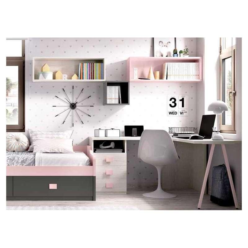 Habitaci n juvenil con escritorio y cama nido for Habitacion juvenil cama nido