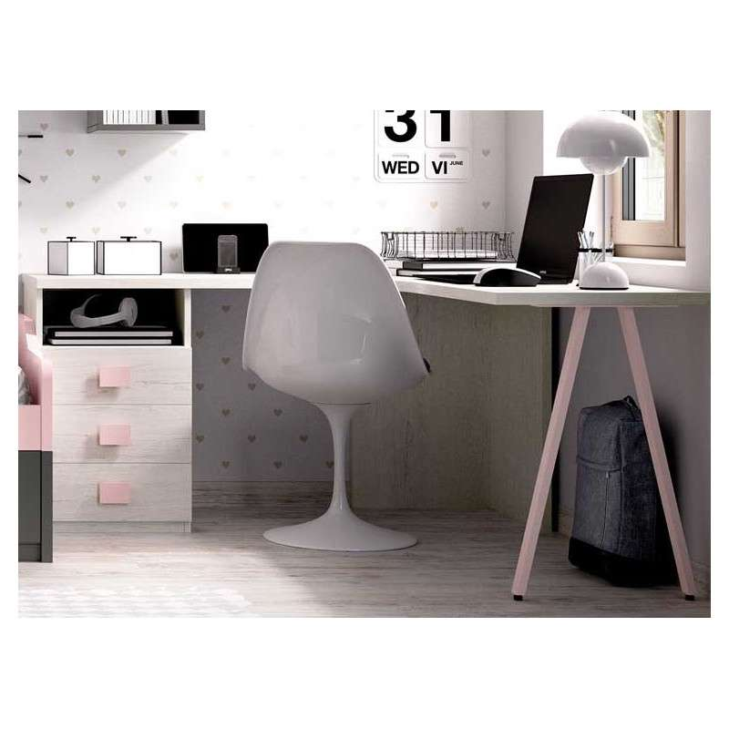 Habitación juvenil con escritorio y cama nido