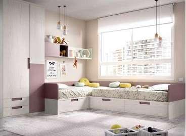 Habitació juvenil amb dos llits en L