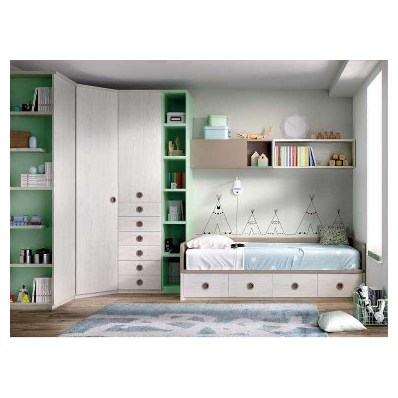 Habitación juvenil con cama nido y gran rinconero