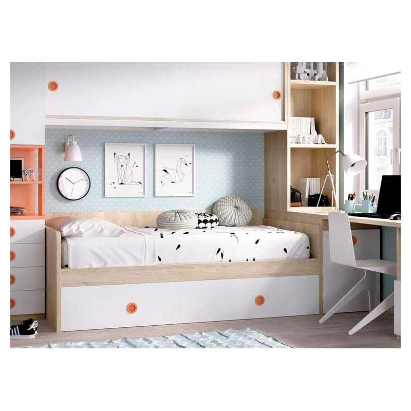 Habitación con cama nido, escritorio y puente