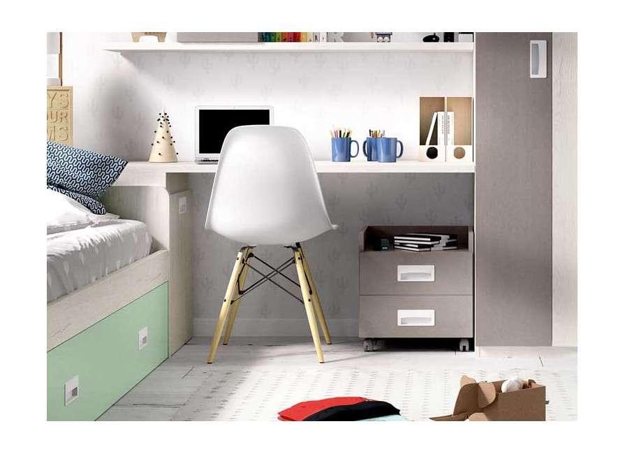 Habitación con cama nido y armario rinconero