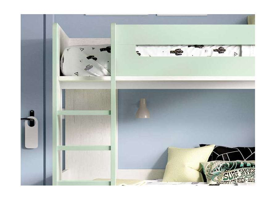 Habitación juvenil completa con litera, armario y escritorio