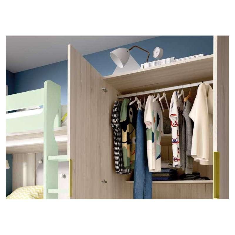 Litera en L con armario integrado
