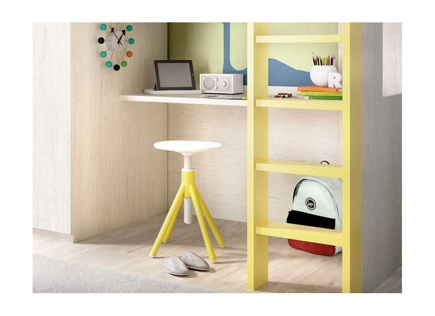 Litera con escritorio y armario integrados