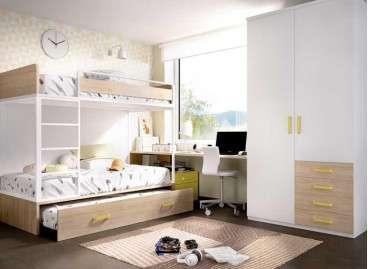 Llitera de tres llits amb escriptori i armari