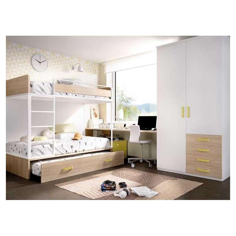 Litera de tres camas con escritorio y armario