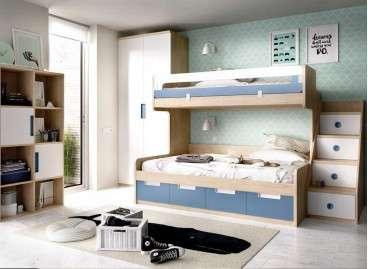Conjunt de llitera i escala amb prestatgeria i armari