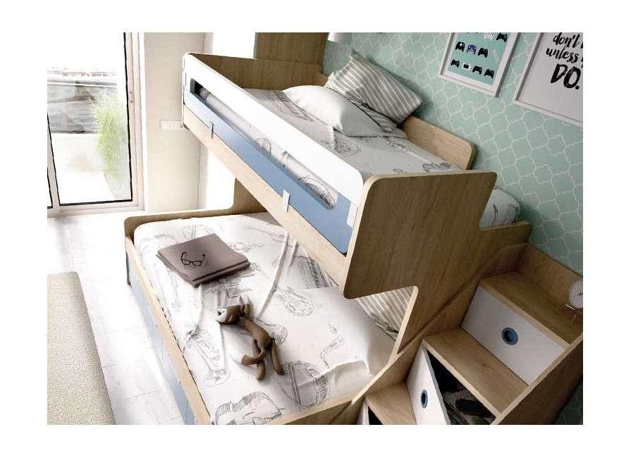 Conjunto de litera y escalera con estantería