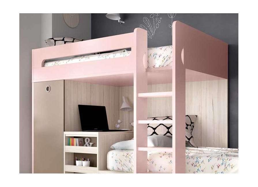 Litera tren con escritorio y armario integrados
