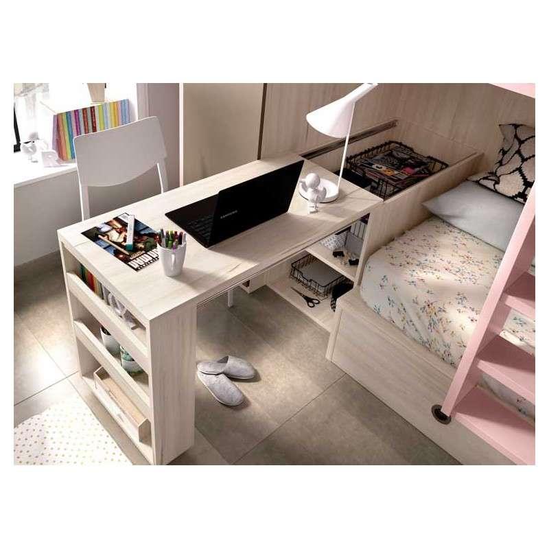 Llitera tren amb escriptori i armari integrats
