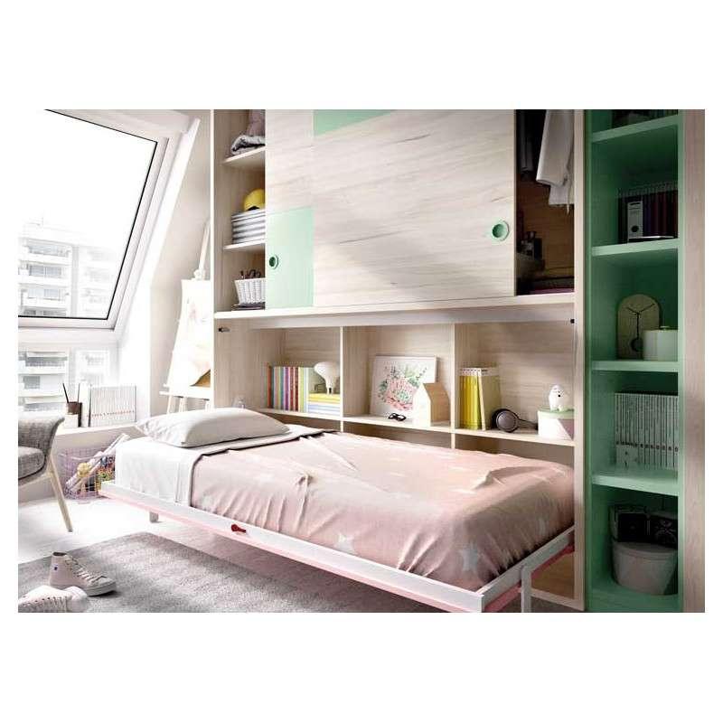 Conjunt amb armari i llit abatible individual
