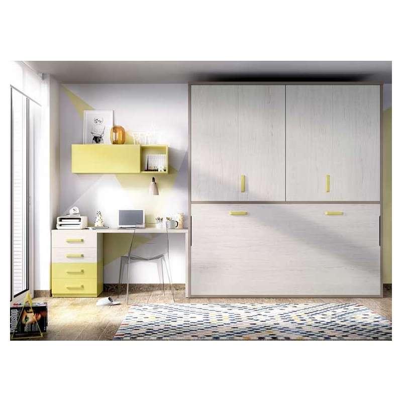 Habitación con armario y cama abatible individual